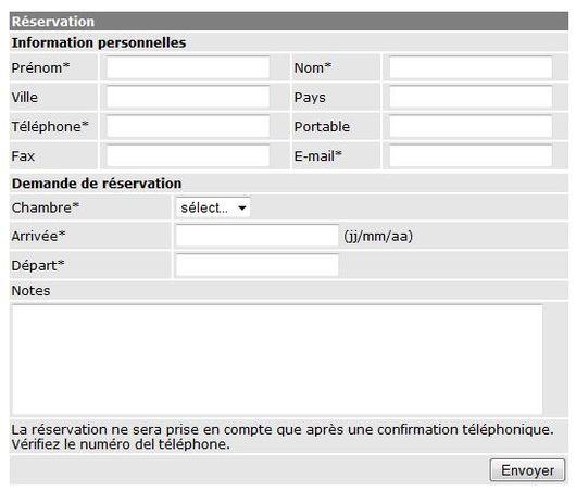 Formulaire de r servation editarea fr for Site de reservation hotel